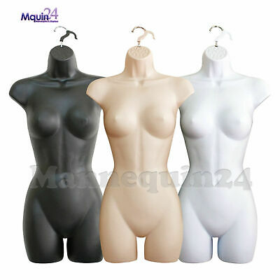 3 Color Combo White Flesh Black Female Torso Body Form Mannequins 3 Hangers