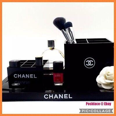 Flash sale!Chanel Vanity 3pc Set Makeup Table Set Or Fashion tray Organizer case