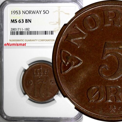 Norway Haakon VII Bronze 1953 5 Ore NGC MS63 BN  KM# 400
