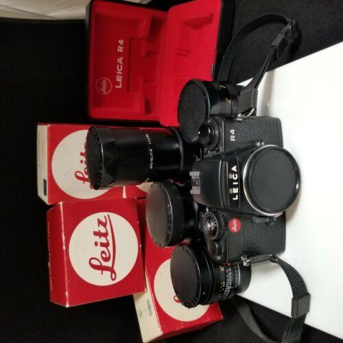LEICA Leitz R4 35mm SLR Film Camera + 4 lenses. Mint condition