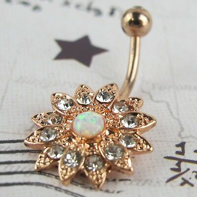 Crystal Flower Opal Center Belly Button Ring Navel Barbell Jewelry Body Piercing Crystal Flower Navel Belly Ring