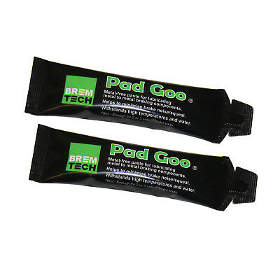 2x BREMTECH PAD GOO ANTI SQUEAL BRAKE LUBRICANT NOT COPPER GREASE PG10X2
