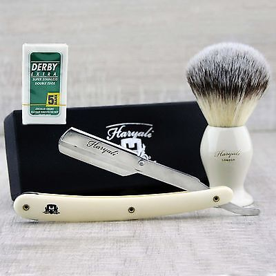 Men's Shaving Straight Razor shaving brush starter kit / set  +FREE 5 BLADE   (Rasiermesser Starter-set)