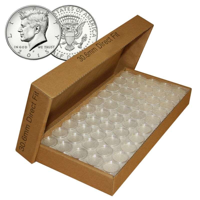 25 Direct Fit Airtight T30 Coin Holders Capsules For JFK HALF DOLLAR