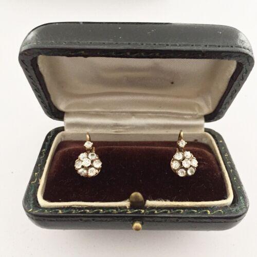 Antique Jewelry 2 Carats 16 Diamond Earrings 1880s Clean White Diamonds 14K Gold