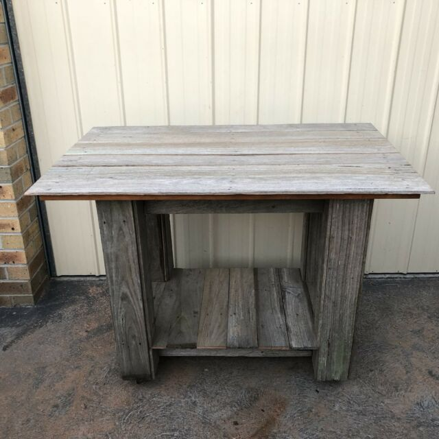 Recycled Rustic Island Work Man Cave Kitchen Bench Castors