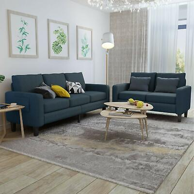 2 Pieces Living Room Sofa Set w/ 3 Seat Sofa Couch and Loveseat Home Furniture