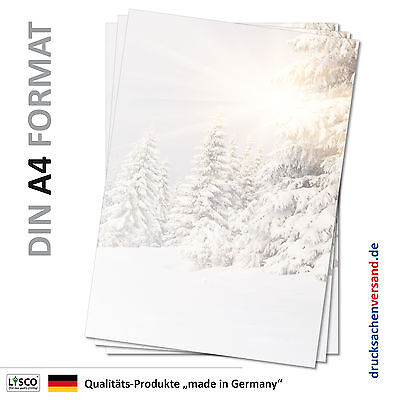 Motivpapier Briefpapier (Winter-5059 A4 25 Blatt) Landschaft Schnee Sonne Tannen