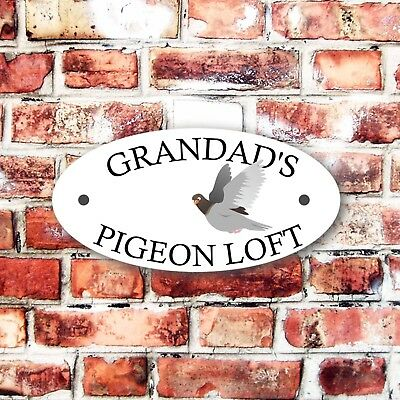 GRANDAD'S PIGEON LOFT OUTDOOR/INDOOR SIGN PRE DRILLED CAGE RINGS HOUSE