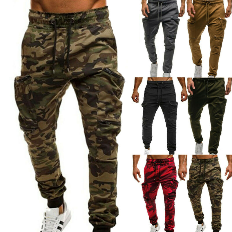 Mens Camouflage Camo Cargo Combat Army Pants Joggers Sweatpants Casual Trousers Clothing, Shoes & Accessories