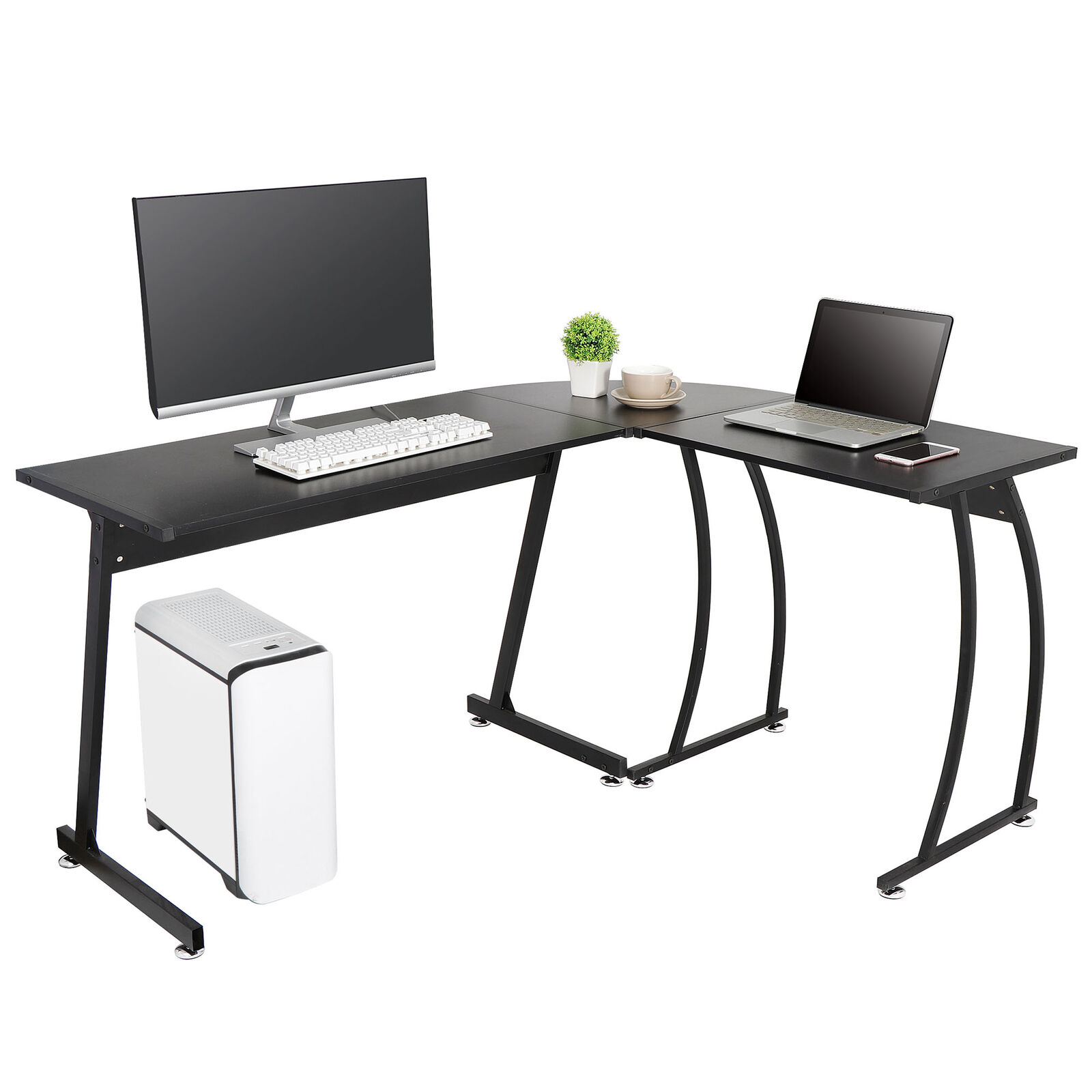 L-Shaped Corner Desk Computer Gaming Desk PC Table Office Writting Table 58″ Furniture