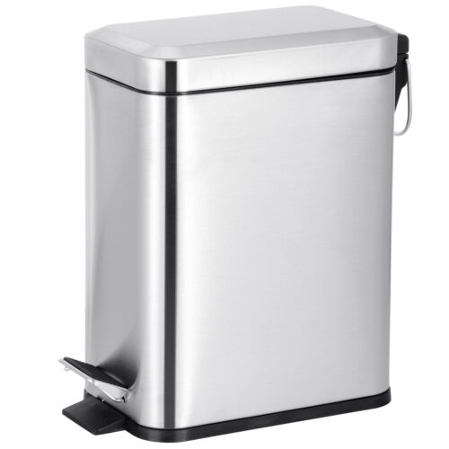 Stainless Steel 1.3 Gallon Metal Step Trash Can Recycle Bin Home Office Kitchen General Household Supplies
