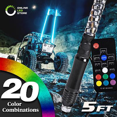 5ft Lighted Spiral LED Whip Antenna w/Flag & Remote for ATV Polaris RZR UTV
