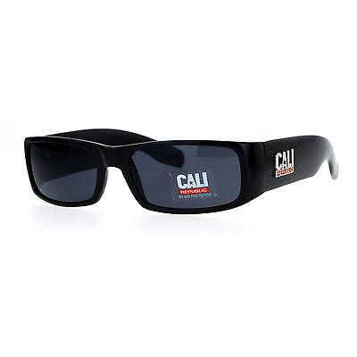Cali Republic Mens Sunglasses Classic Black Rectangular Fashion Shades UV (Cali Sunglasses)