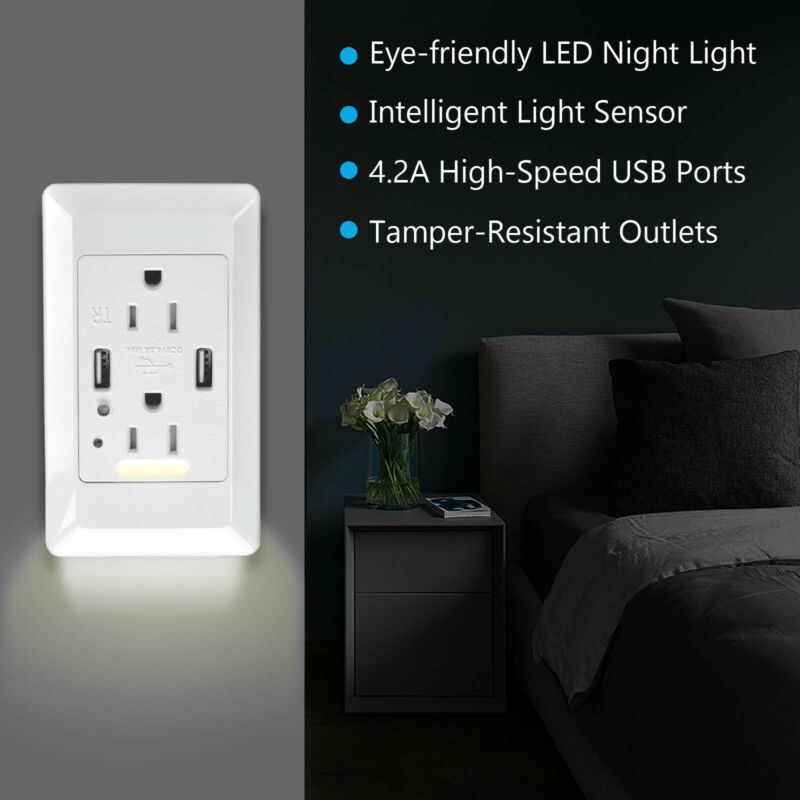 4.2A Fast Charging Wall Outlet 2 USB Port Socket W/ LED Night Light Plate White