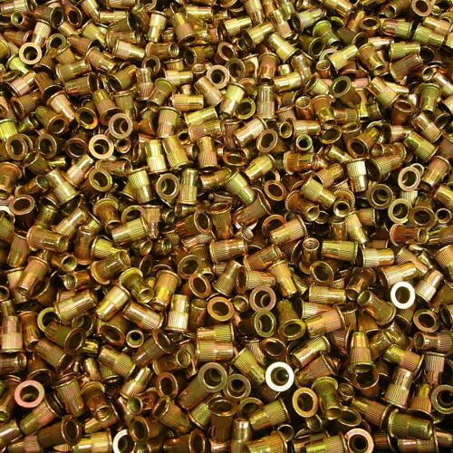 (250) #10-24 X .020 /.130 Grip Range Large Flange Rivet Nut Yellow Zinc Steel