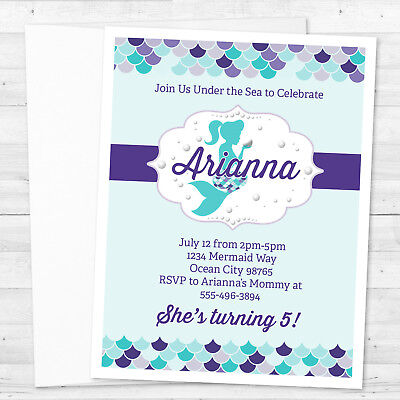8 Mermaid Under The Sea Birthday or Baby Shower Personalized - Under The Sea Baby Shower Invites