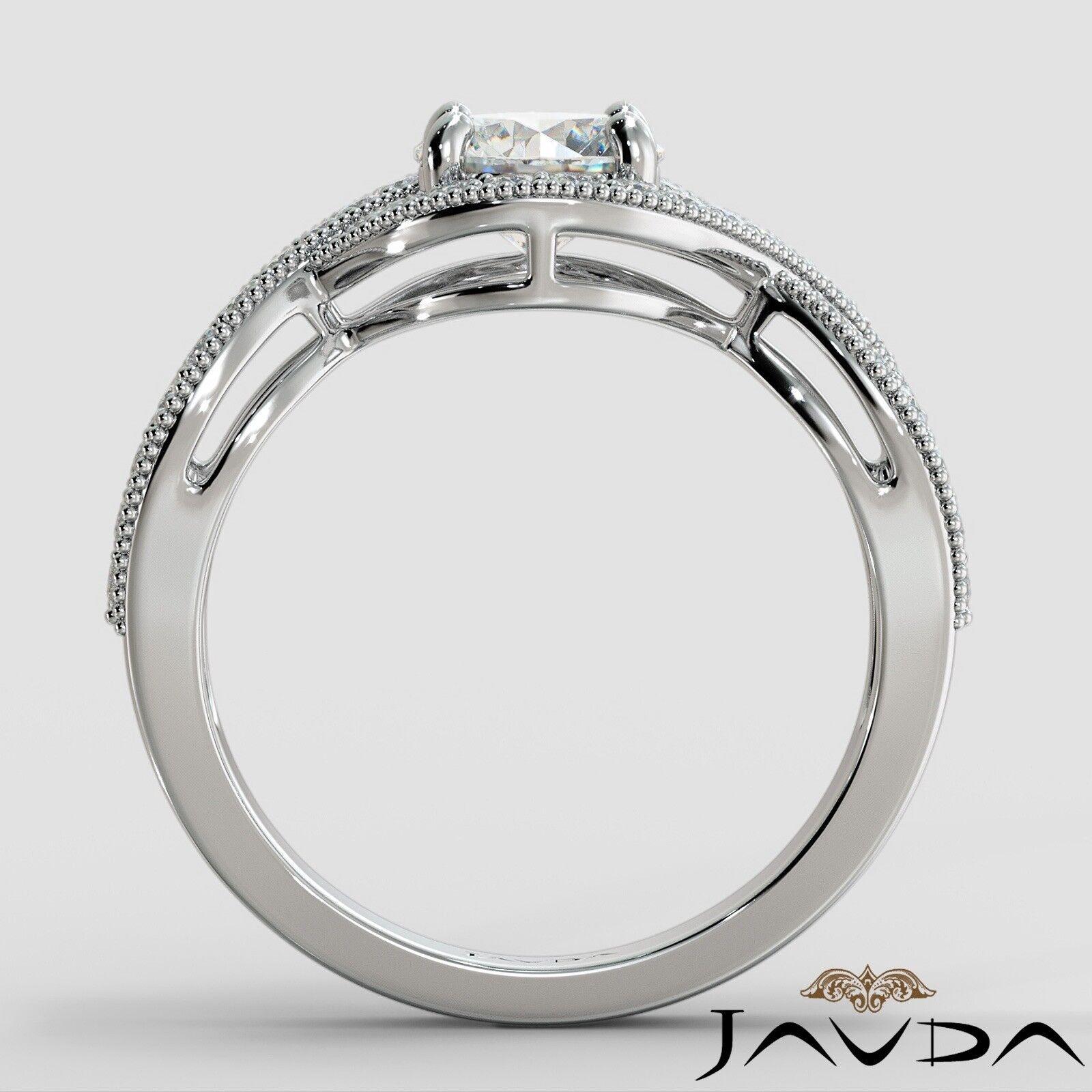 1.25ctw Milgrain Halo Side Stone Round Diamond Engagement Ring GIA G-VS1 W Gold 3