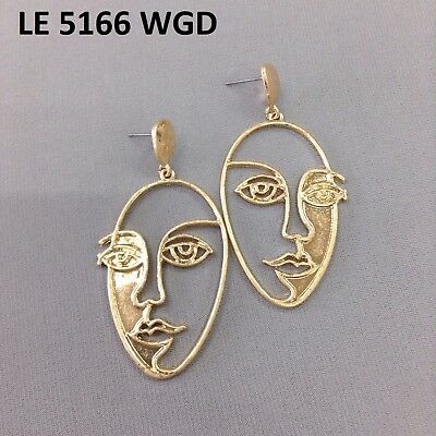 (Gold Tone Retro Art Abstract Cutout Picasso Face Drop Dangle Post Back Earrings )