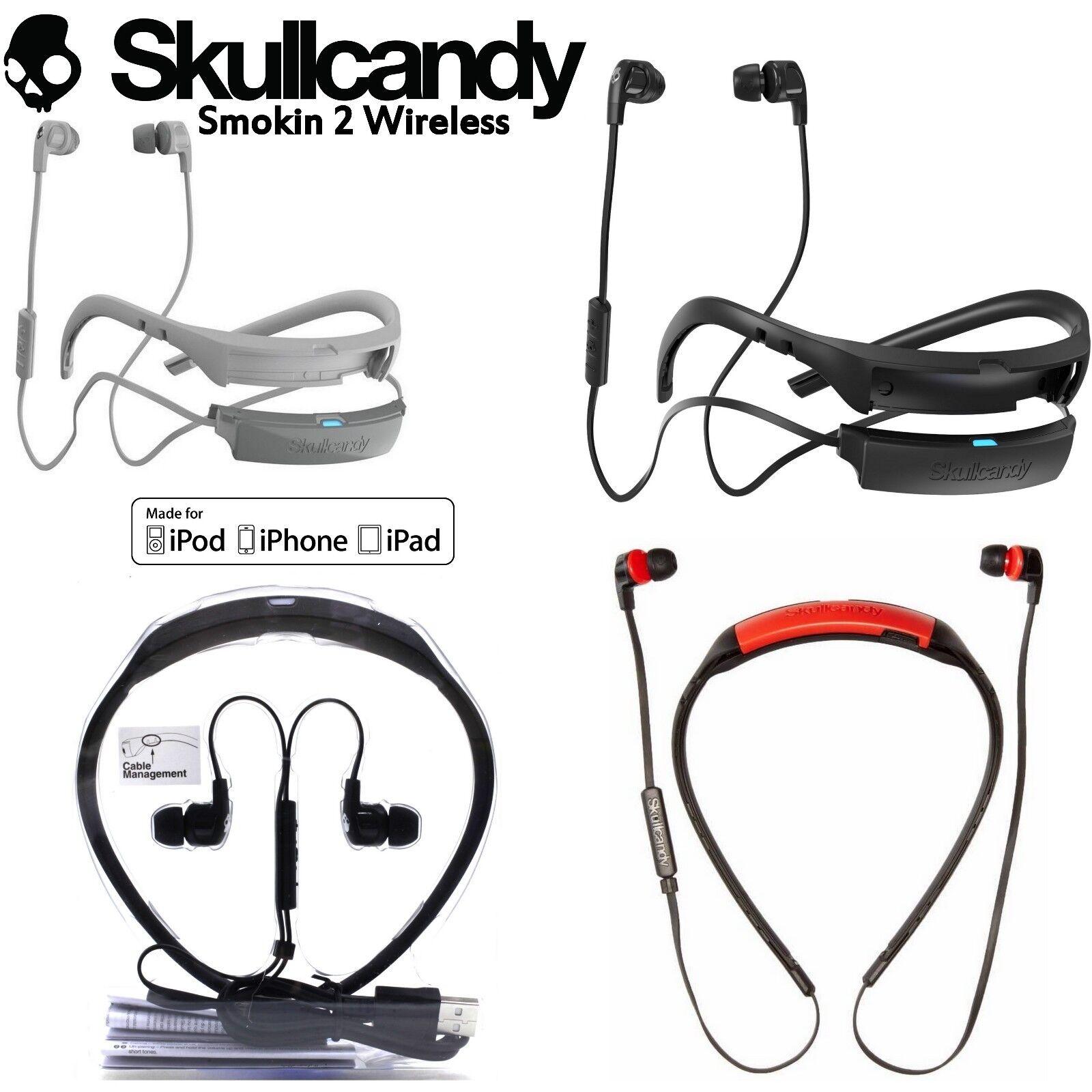 Headphones - Skullcandy SMOKIN BUDS 2 Wireless Bluetooth Earphones with Mic red white New