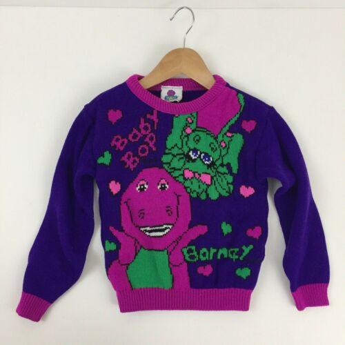 Vtg 90s Barney Purple Dinosaur Baby Bop Child Sweater Size 4 / 5 ? Acrylic Knit