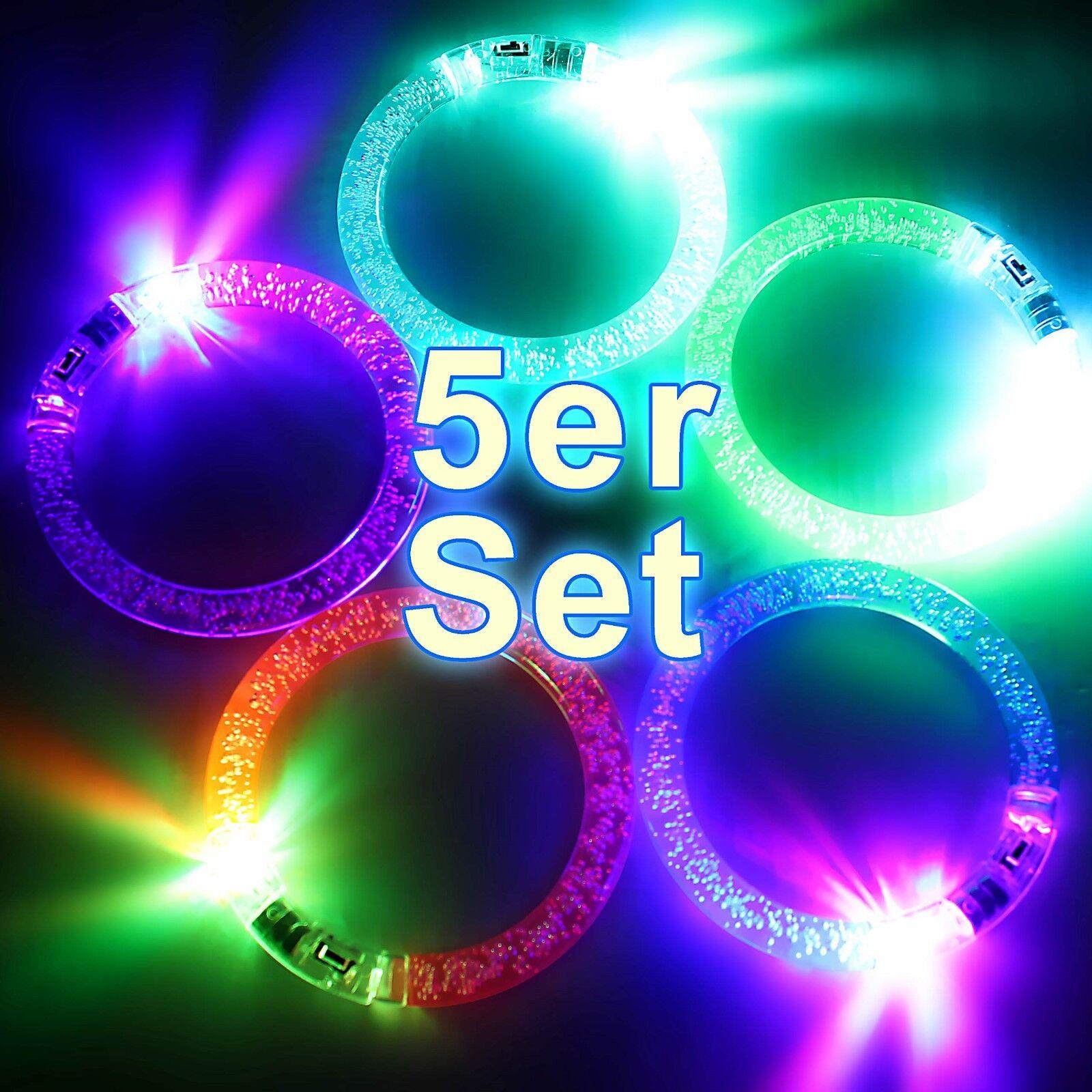 5er-Set LED Armreifen Leuchtschmuck LED-Licht Accessoire Party-Set ©Ucult