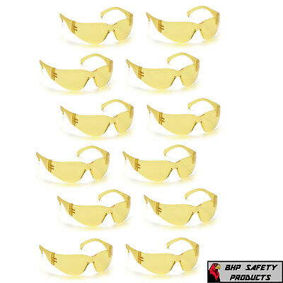 12 Pair Pyramex Intruder Amber Lens Safety Glasses Shooting Range S4130s Z87