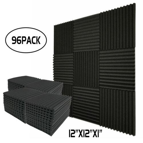 "96 Pack Acoustic Wedge Studio Foam Soundproofing Foam Wall Panels Tiles 1""X12X12"