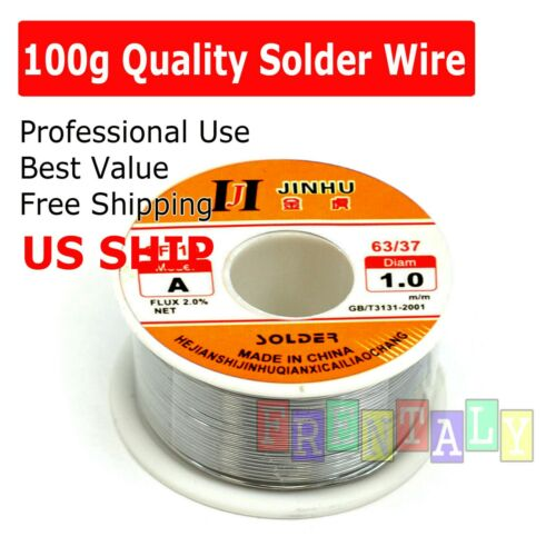 "60-40 Tin Lead Rosin Core Solder Wire Soldering Sn60 Pb40 Flux .039""/ 1.0mm 100g"