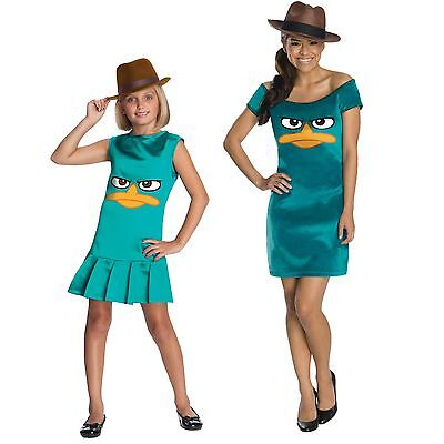 Teen Child TV Show Phineas and Ferb Sassy Agent P Platypus Tunic Dress Costume](Show Girls Costumes)