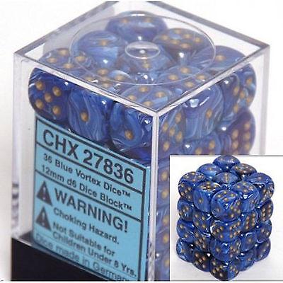 Chessex Dice (36) Block Sets 12mm D6 Vortex Blue w/ Gold 36 Die Set CHX 27836 12mm D6 Dice Block