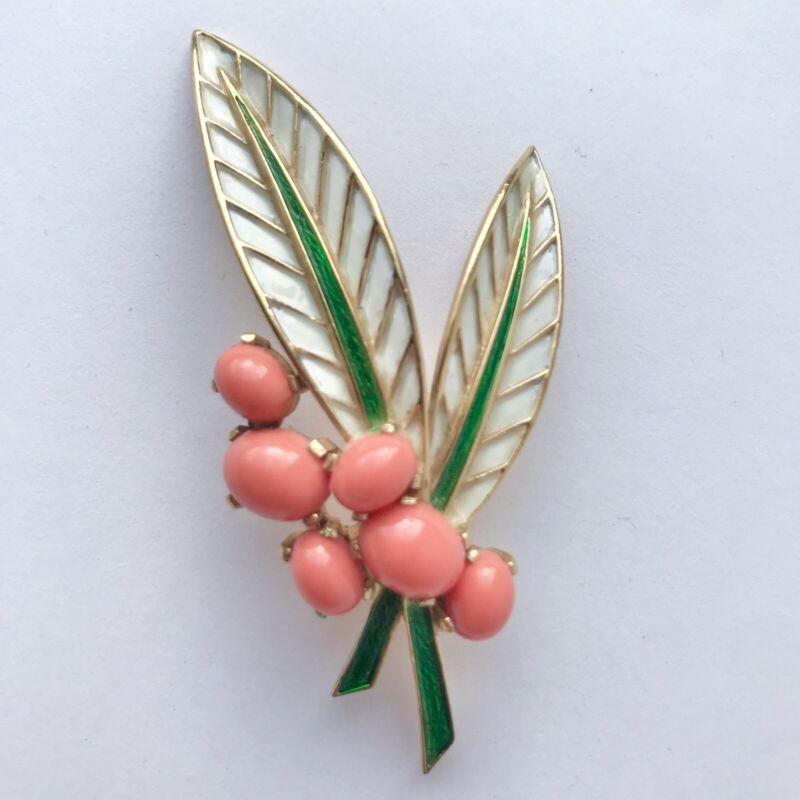 Vintage Crown Trifari Coral Enamel Leaves Brooch Pin Feathers