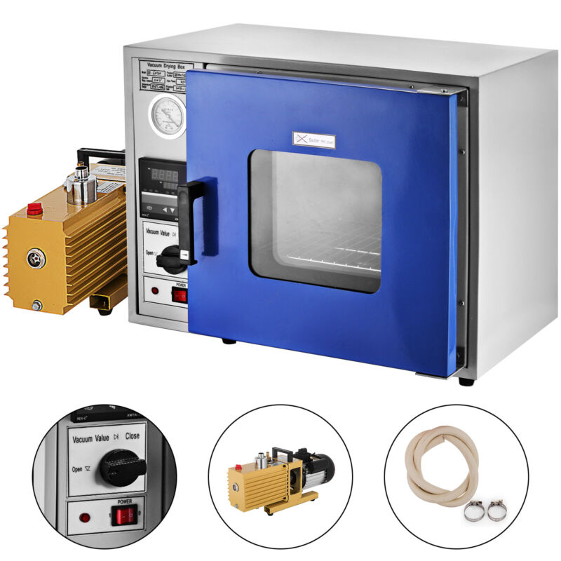 0.9cu ft Drying Oven 9 cfm 2-Stage Vacuum 133Pa Digital 600W Power 5 Tray