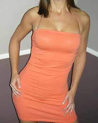 Ruched Tube Dress (Very Sexy Strapless Clubwear Party Ruched on Sides Tube Mini Dress Coral S/M/L)