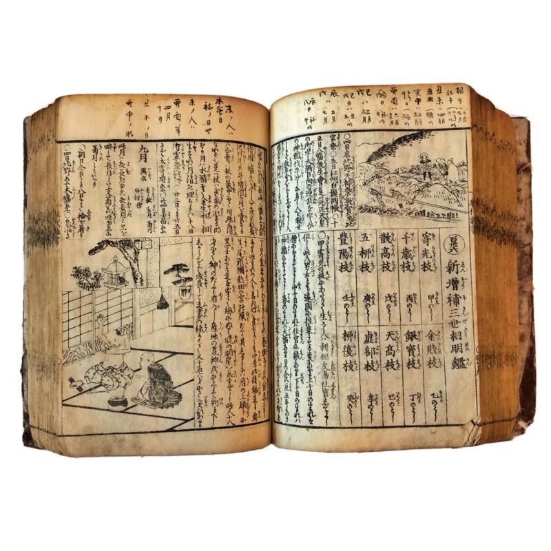 Rare Japanese Encyclopedia Book Circa 1840 Woodblock Manuscript w/ Many Images!