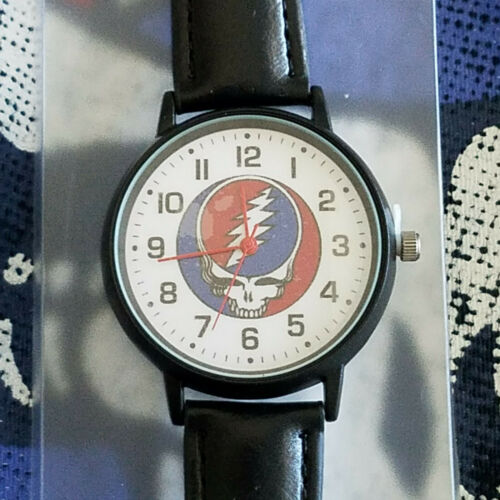 """Grateful Dead Wrist Watch Faux Leather Band  Collectible """"STEAL YOUR FACE"""" NWT"""