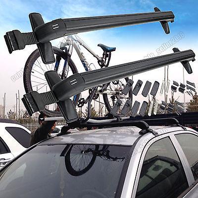 ALUMINUM ROOF RACK/RAIL CAR/SUV TOP CLAMP-ON CROSSBAR LUGGAGE CARGO RACK+LOCK 2x