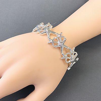 (Silver Finish Starfish Sea Life Inspired Stretchable Statement Bangle Bracelet)