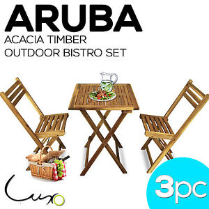 NEW Timber Outdoor Furniture Setting Bistro BBQ Pool Patio Set Table and Chair