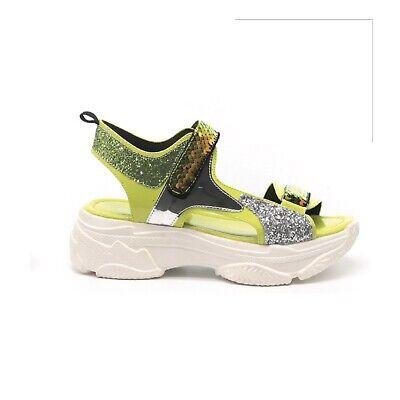 Cape Robbin MASTERSHIP Lime Yellow Silver Glitter Platform Sneaker Sandal  - Silver Cape