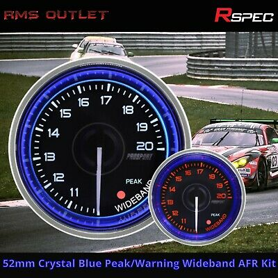 R-SPEC 52mm Crystal Blue Peak/Warning Wideband AFR Kit Car Gauge New In