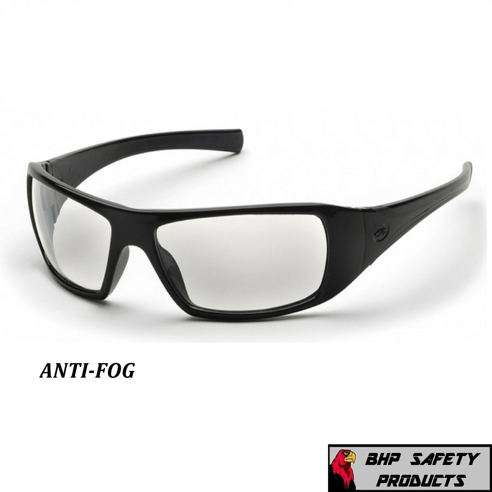 PYRAMEX GOLIATH SAFETY GLASSES MOTORCYCLE SPORT WORK SUNGLASSES Z87+ (1 PAIR) Clear Anti-Fog Lens/ Black Frame SB5610DT