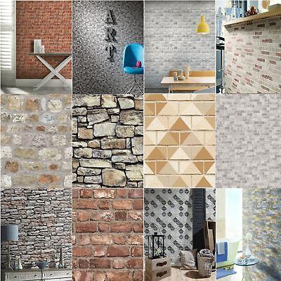 Luxury Rustic Brick Effect Wallpaper Morrocan Stone Slate Wall Realistic Feature