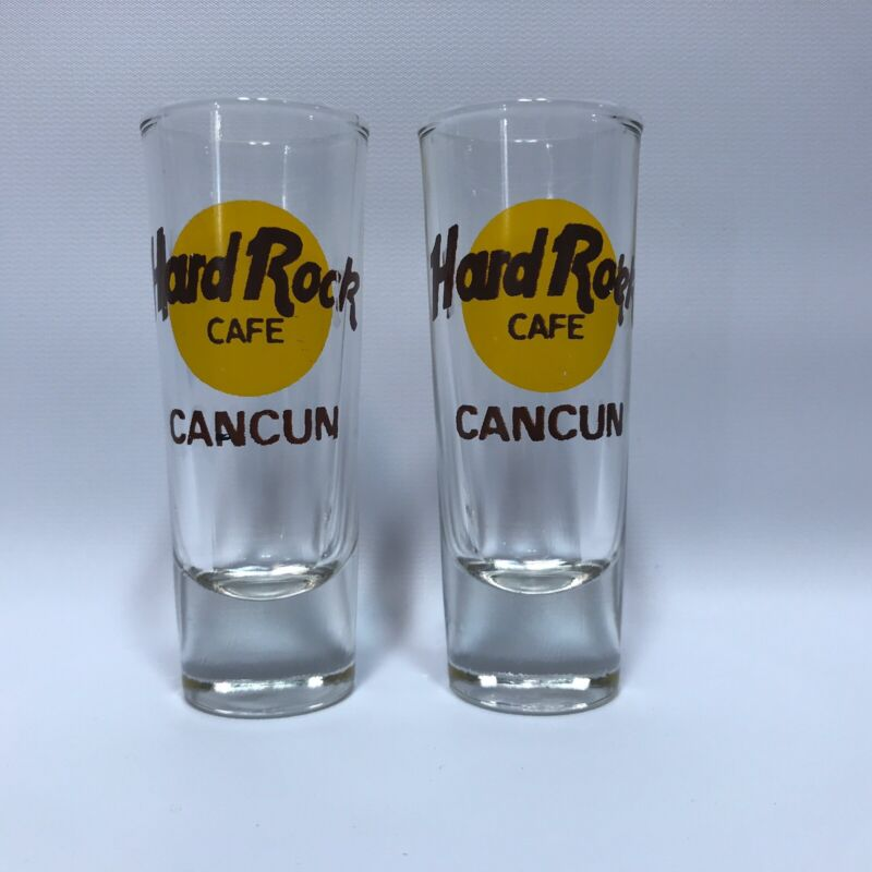 "Hard Rock Cafe 4"" Double Shot Glass Lot of 2 CANCUN Mexico Tall"