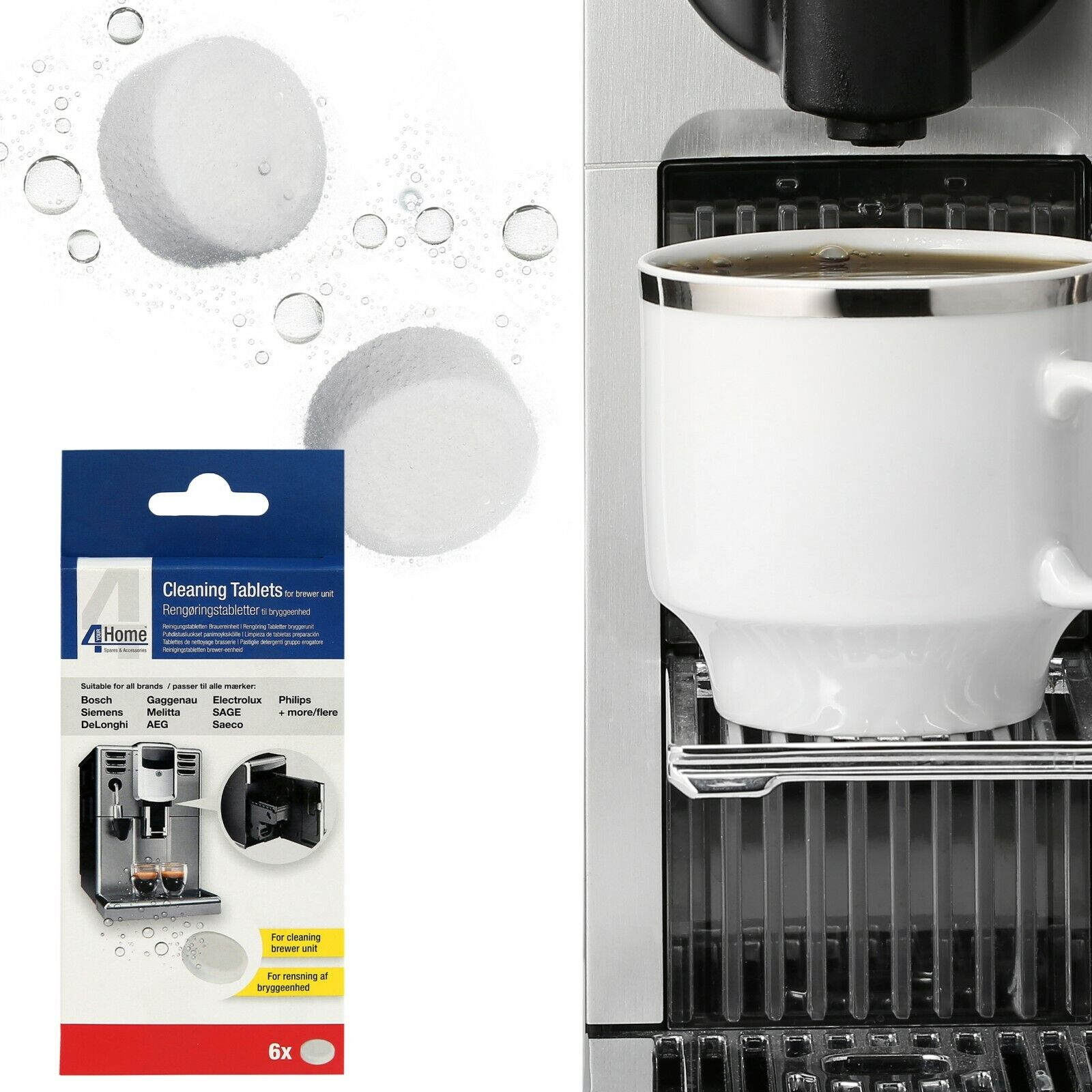 Details About 6 X Cleaning Tablets For Philips Saeco Melitta Coffee Maker Brewer Units