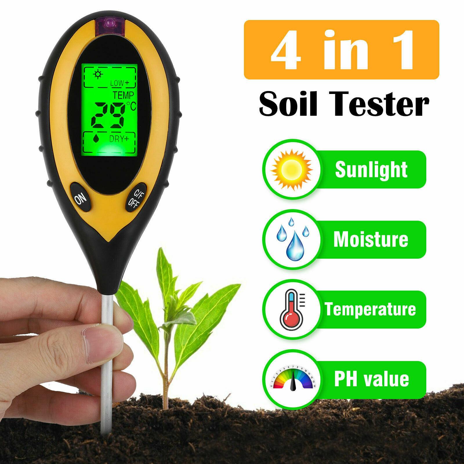 4 in 1 PH Tester Soil Water Moisture Light Test Meter for Ga