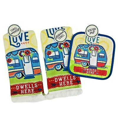 Colorful RV Camper Kitchen Dish Towels and Potholder Set Lodge Camping Camp New