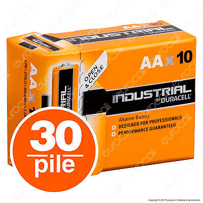 30 Batterie Duracell Industrial Procell Pile Alcaline Stilo AA