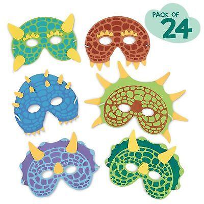 Dinosaur Birthday Party Supplies: 24 Dinosaur Party Masks Masquerade - Dinosaur Birthday