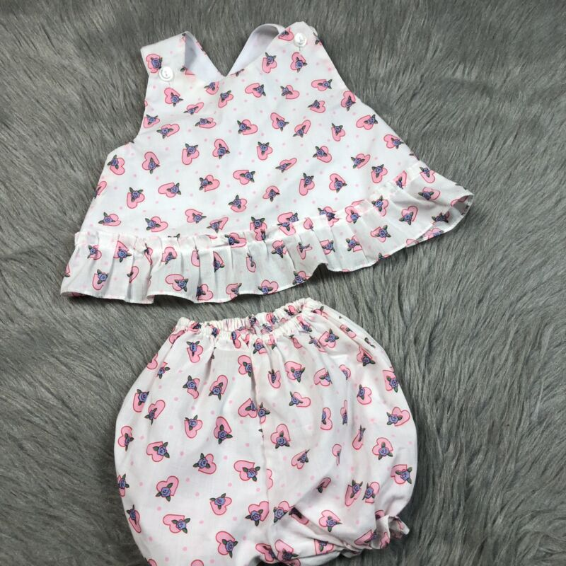 Vintage Baby Girls 2 Piece White Pink Heart Floral Swing Top Bloomer Set